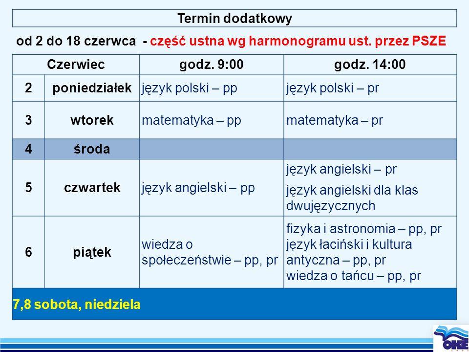 Termin dodatkowy od 2 do 18 czerwca - część ustna wg harmonogramu ust. przez PSZE. Czerwiec. godz. 9:00.