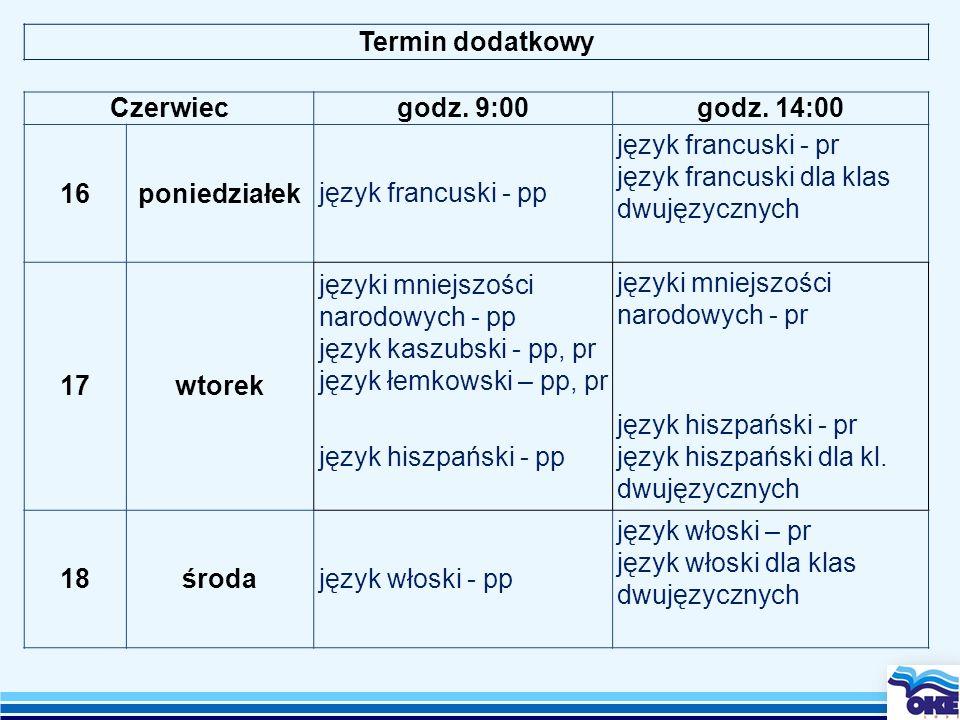 Termin dodatkowy Czerwiec. godz. 9:00. godz. 14:00. 16. poniedziałek. język francuski - pp. język francuski - pr.