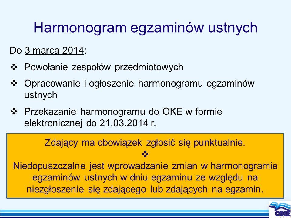 Harmonogram egzaminów ustnych