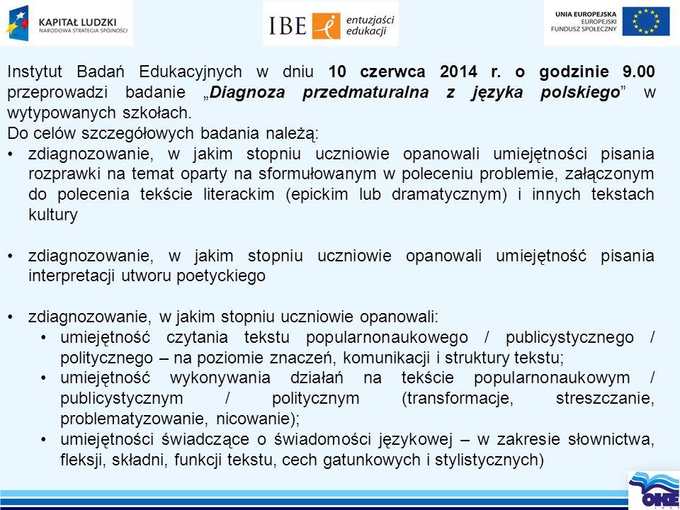 Instytut Badań Edukacyjnych w dniu 10 czerwca 2014 r. o godzinie 9
