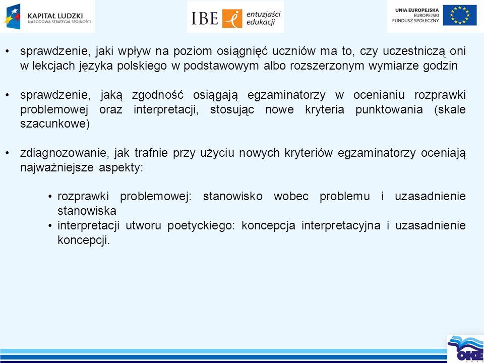 sprawdzenie, jaki wpływ na poziom osiągnięć uczniów ma to, czy uczestniczą oni w lekcjach języka polskiego w podstawowym albo rozszerzonym wymiarze godzin