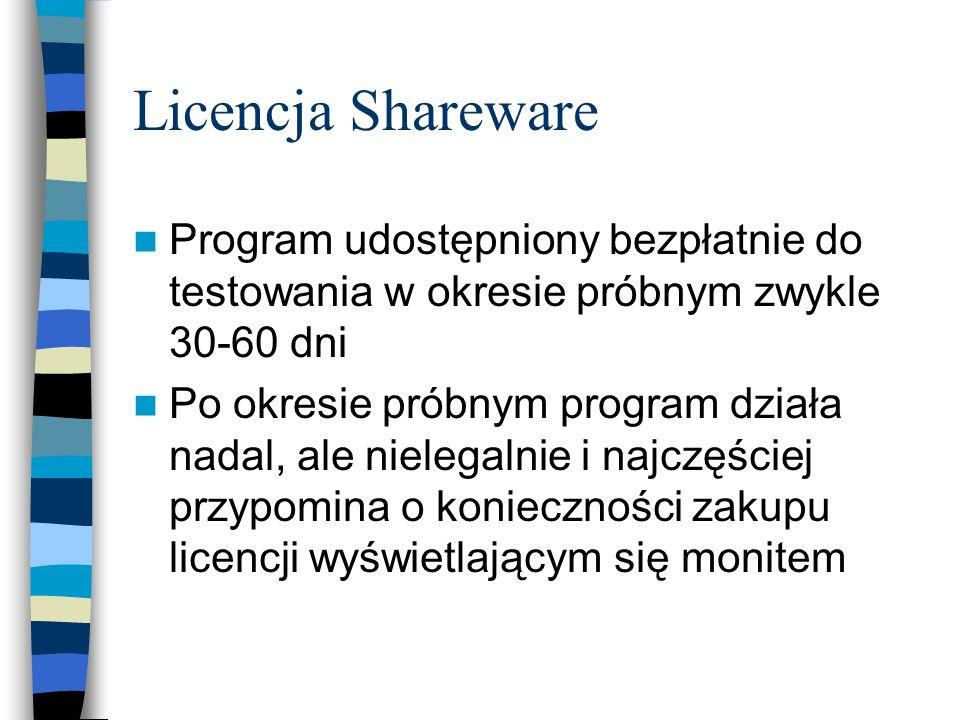 Licencja Shareware Program udostępniony bezpłatnie do testowania w okresie próbnym zwykle 30-60 dni.