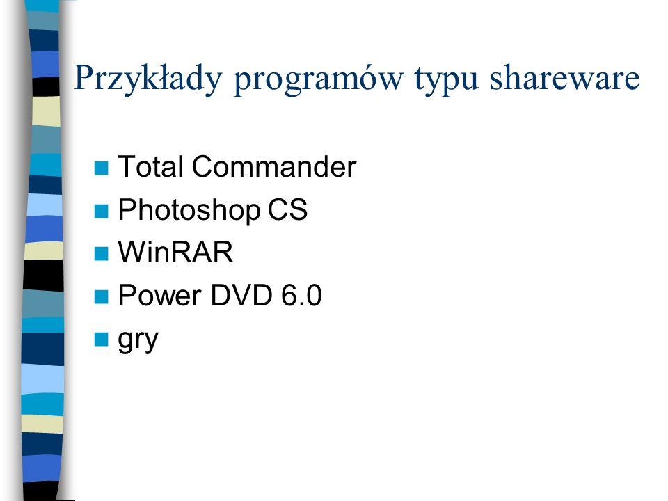 Przykłady programów typu shareware