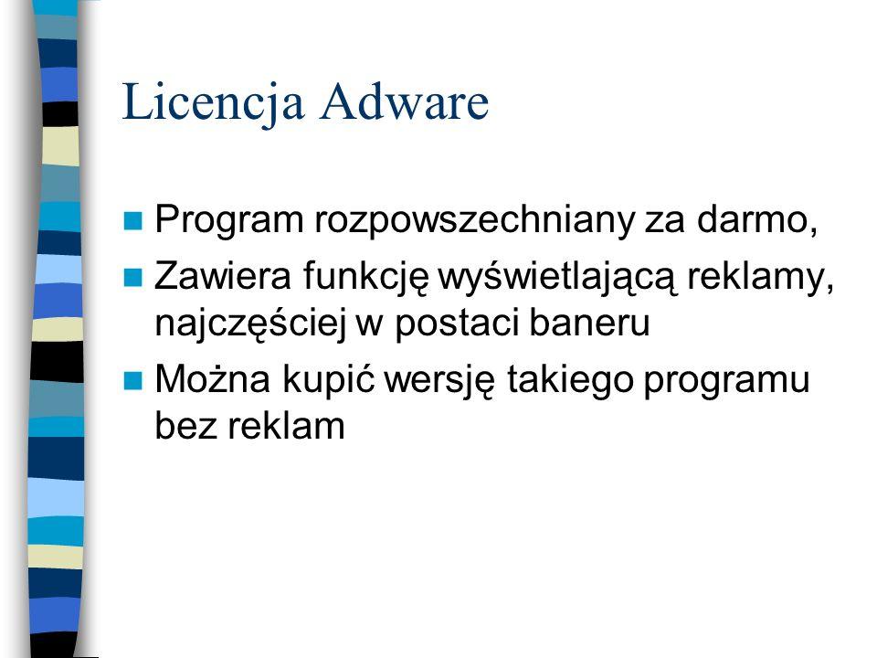 Licencja Adware Program rozpowszechniany za darmo,