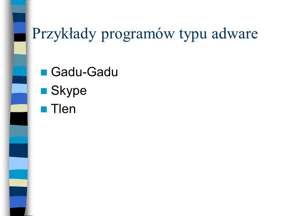 Przykłady programów typu adware