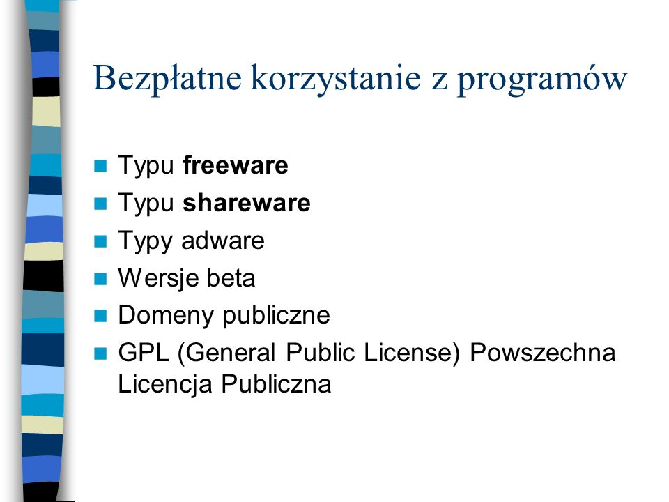 Bezpłatne korzystanie z programów