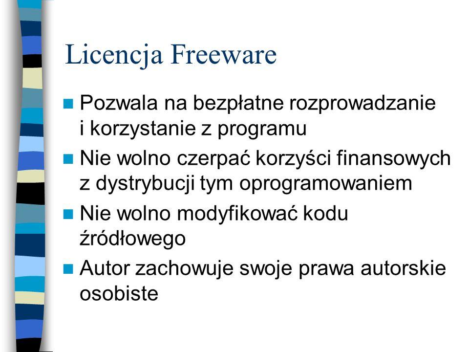Licencja Freeware Pozwala na bezpłatne rozprowadzanie i korzystanie z programu.