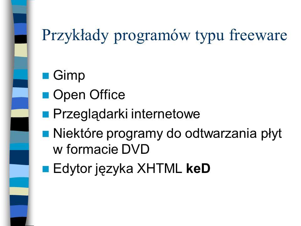 Przykłady programów typu freeware