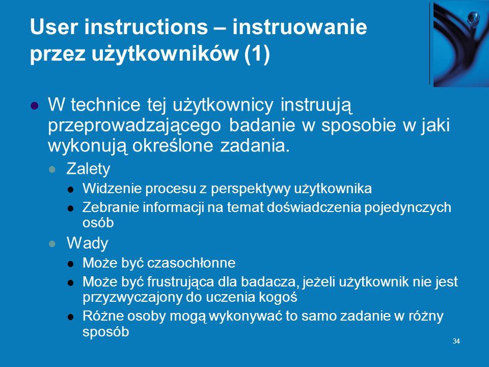 User instructions – instruowanie przez użytkowników (1)