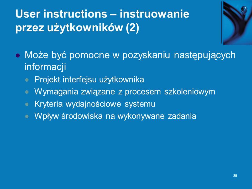 User instructions – instruowanie przez użytkowników (2)