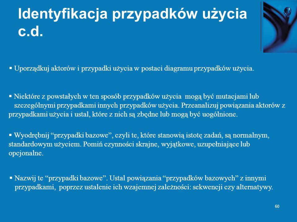 Identyfikacja przypadków użycia c.d.