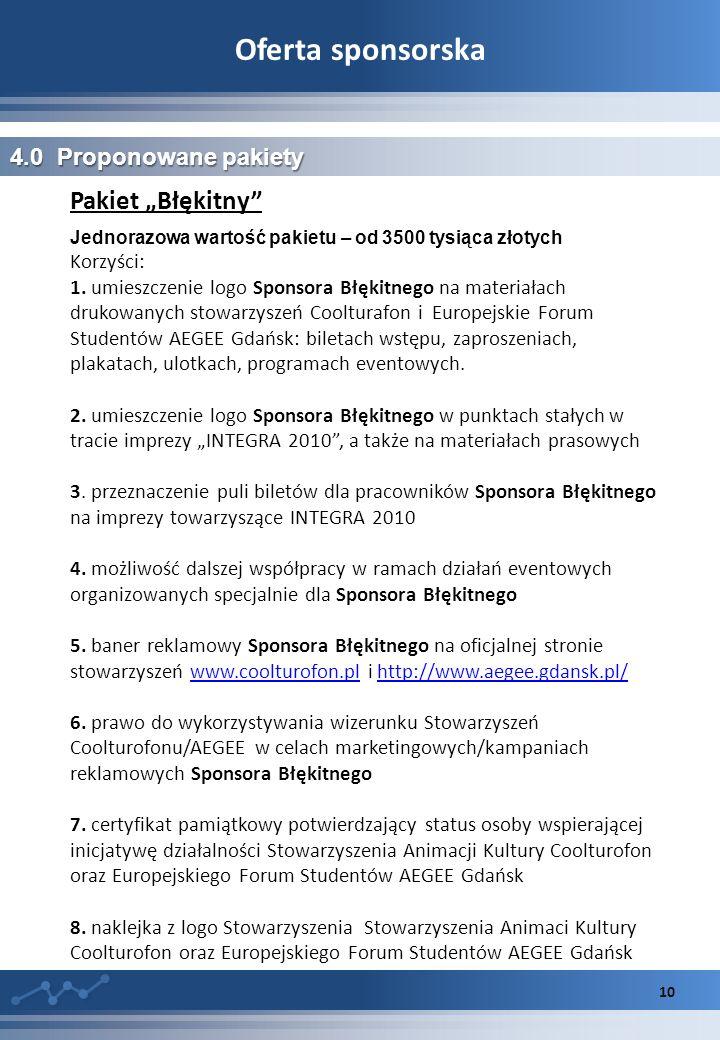 """Oferta sponsorska Pakiet """"Błękitny 4.0 Proponowane pakiety Korzyści:"""