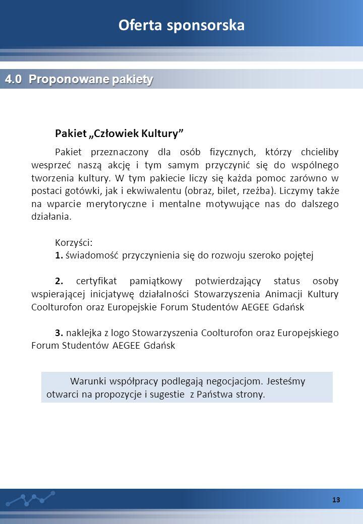 """Oferta sponsorska 4.0 Proponowane pakiety Pakiet """"Człowiek Kultury"""