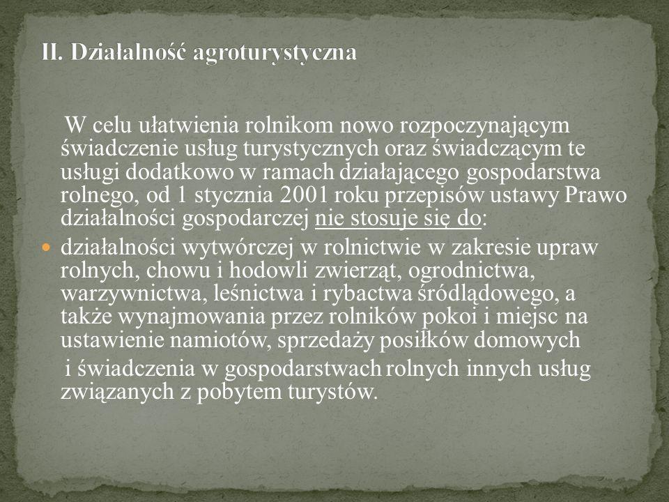 II. Działalność agroturystyczna