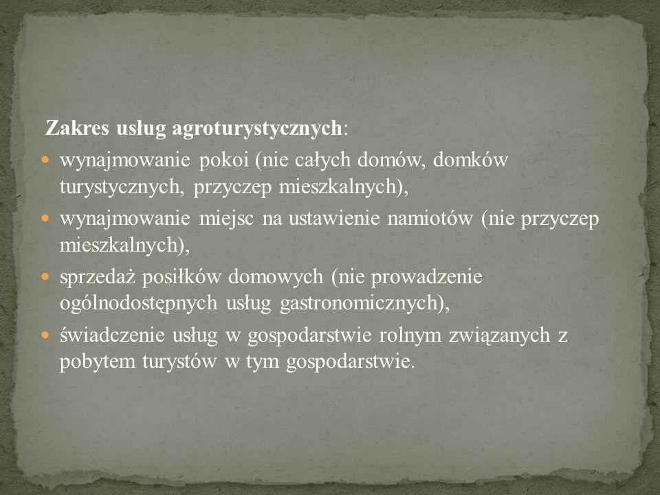 Zakres usług agroturystycznych: