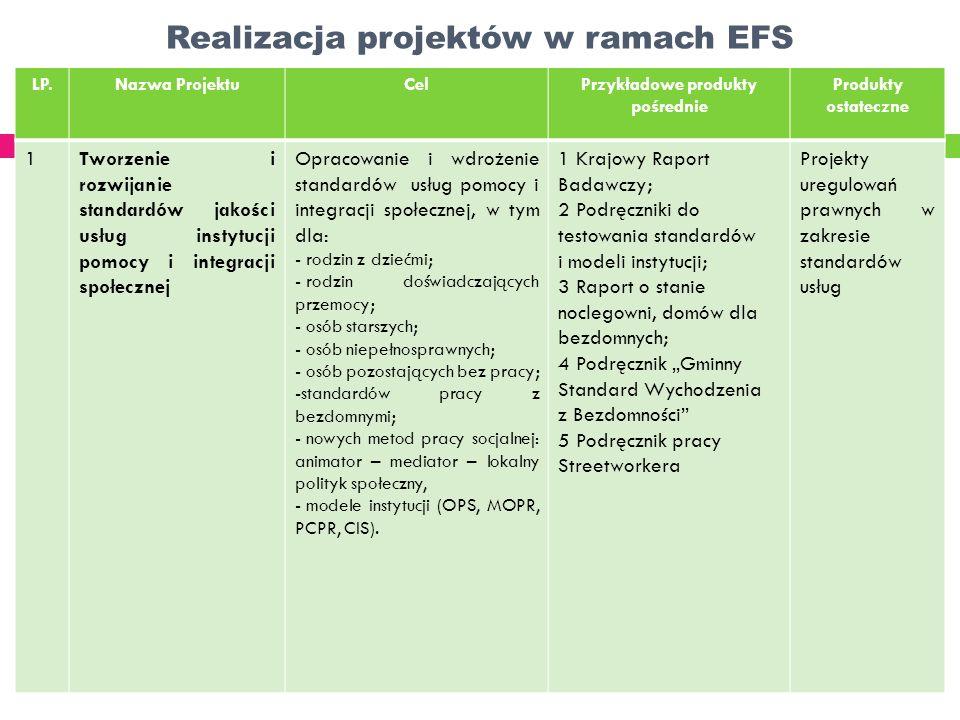 Realizacja projektów w ramach EFS