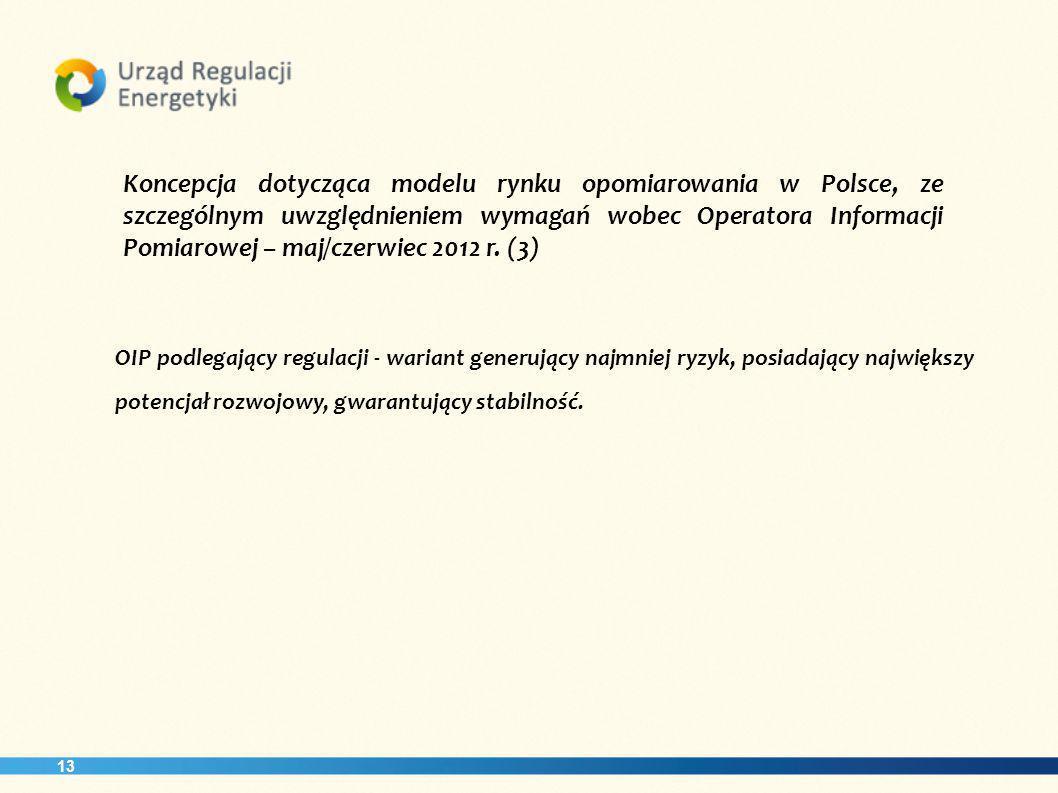 Koncepcja dotycząca modelu rynku opomiarowania w Polsce, ze szczególnym uwzględnieniem wymagań wobec Operatora Informacji Pomiarowej – maj/czerwiec 2012 r. (3)
