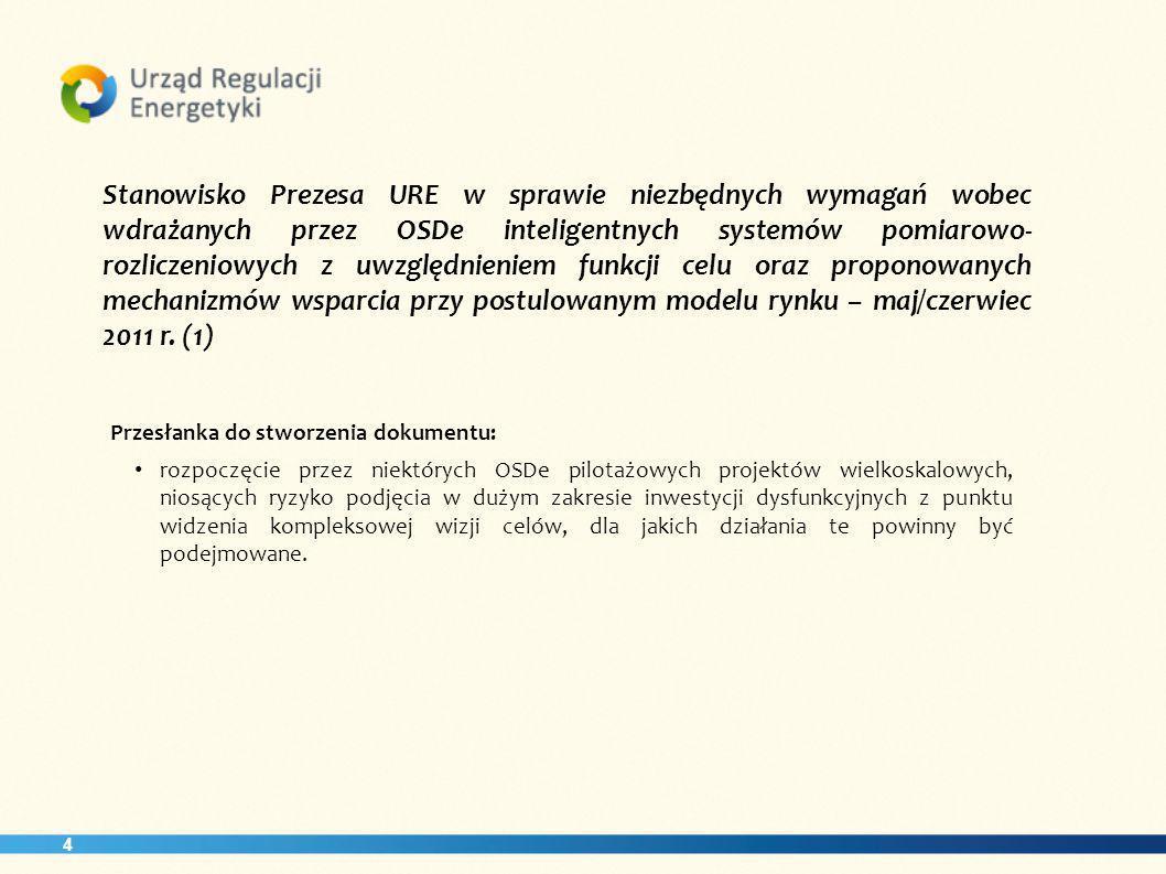 Stanowisko Prezesa URE w sprawie niezbędnych wymagań wobec wdrażanych przez OSDe inteligentnych systemów pomiarowo-rozliczeniowych z uwzględnieniem funkcji celu oraz proponowanych mechanizmów wsparcia przy postulowanym modelu rynku – maj/czerwiec 2011 r. (1)