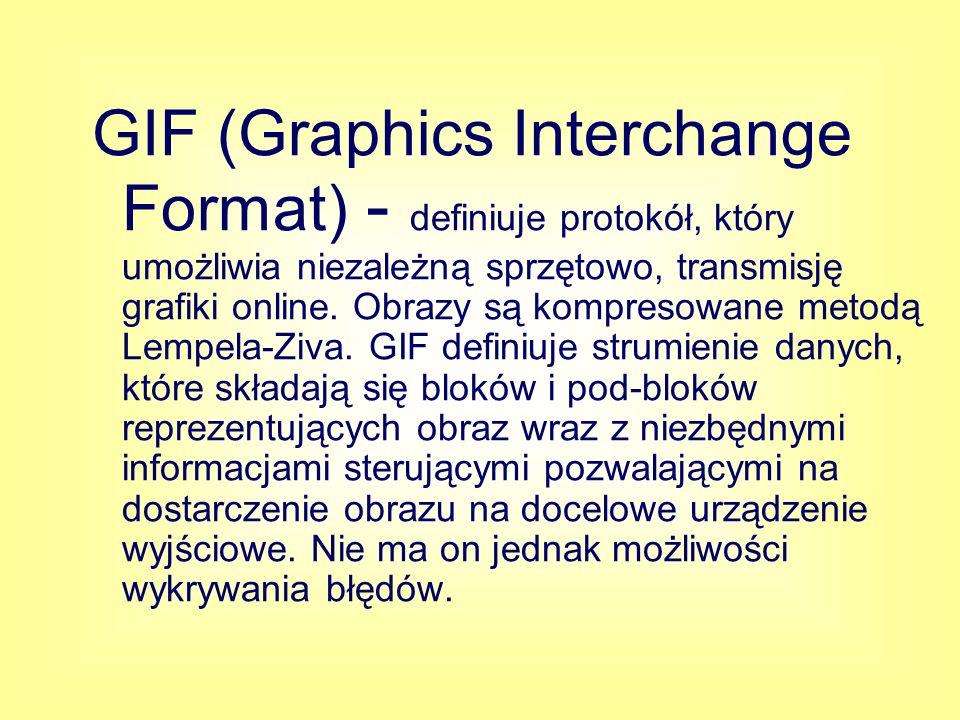 GIF (Graphics Interchange Format) - definiuje protokół, który umożliwia niezależną sprzętowo, transmisję grafiki online.
