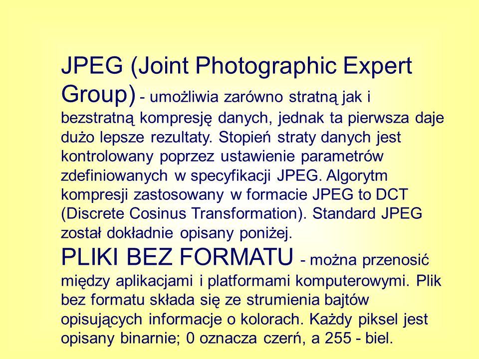 JPEG (Joint Photographic Expert Group) - umożliwia zarówno stratną jak i bezstratną kompresję danych, jednak ta pierwsza daje dużo lepsze rezultaty. Stopień straty danych jest kontrolowany poprzez ustawienie parametrów zdefiniowanych w specyfikacji JPEG. Algorytm kompresji zastosowany w formacie JPEG to DCT (Discrete Cosinus Transformation). Standard JPEG został dokładnie opisany poniżej.