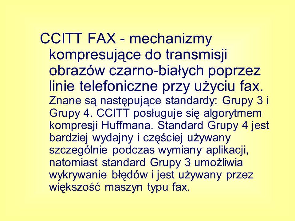 CCITT FAX - mechanizmy kompresujące do transmisji obrazów czarno-białych poprzez linie telefoniczne przy użyciu fax.