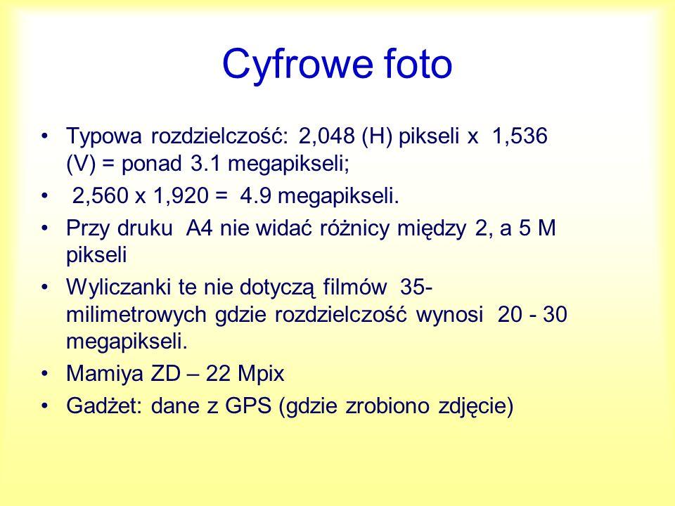 Cyfrowe foto Typowa rozdzielczość: 2,048 (H) pikseli x 1,536 (V) = ponad 3.1 megapikseli; 2,560 x 1,920 = 4.9 megapikseli.