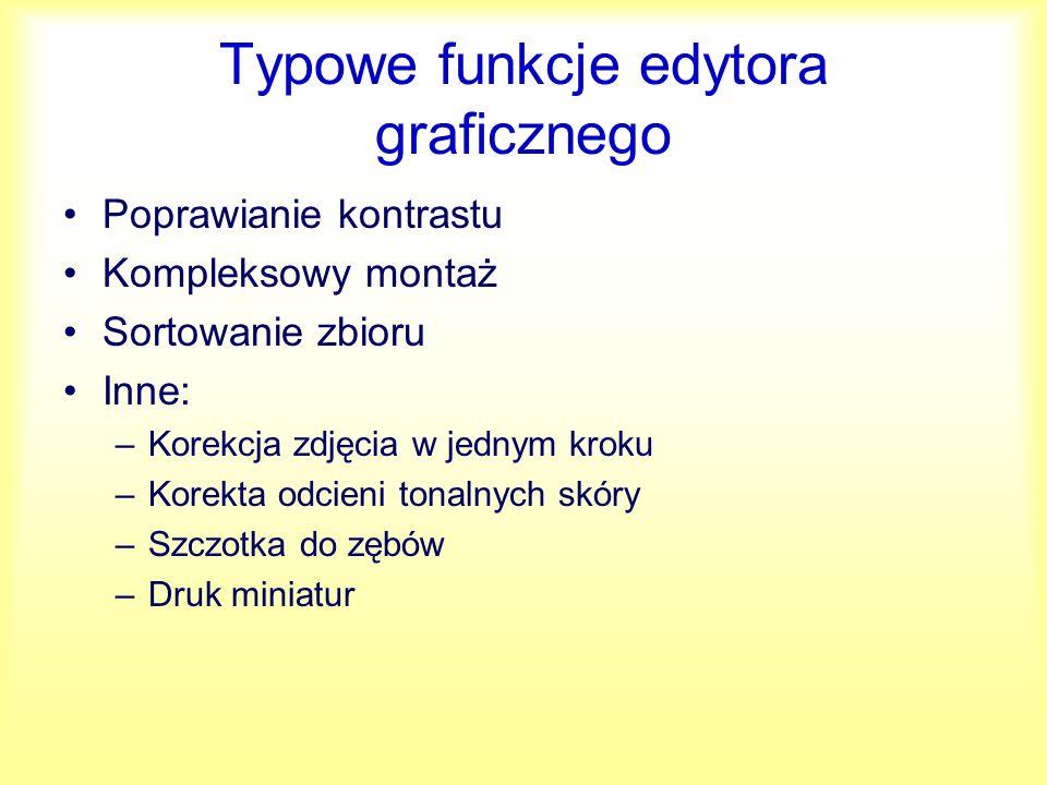 Typowe funkcje edytora graficznego
