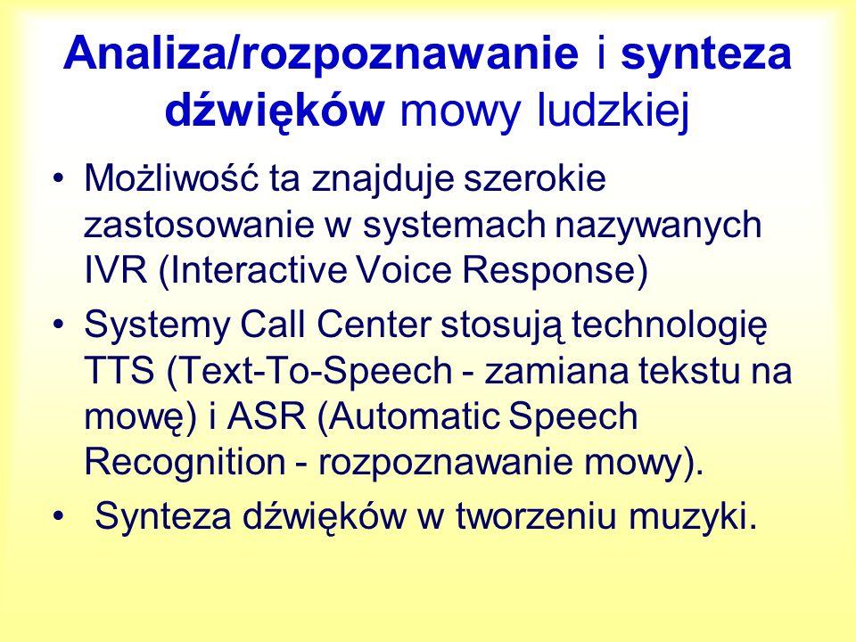 Analiza/rozpoznawanie i synteza dźwięków mowy ludzkiej