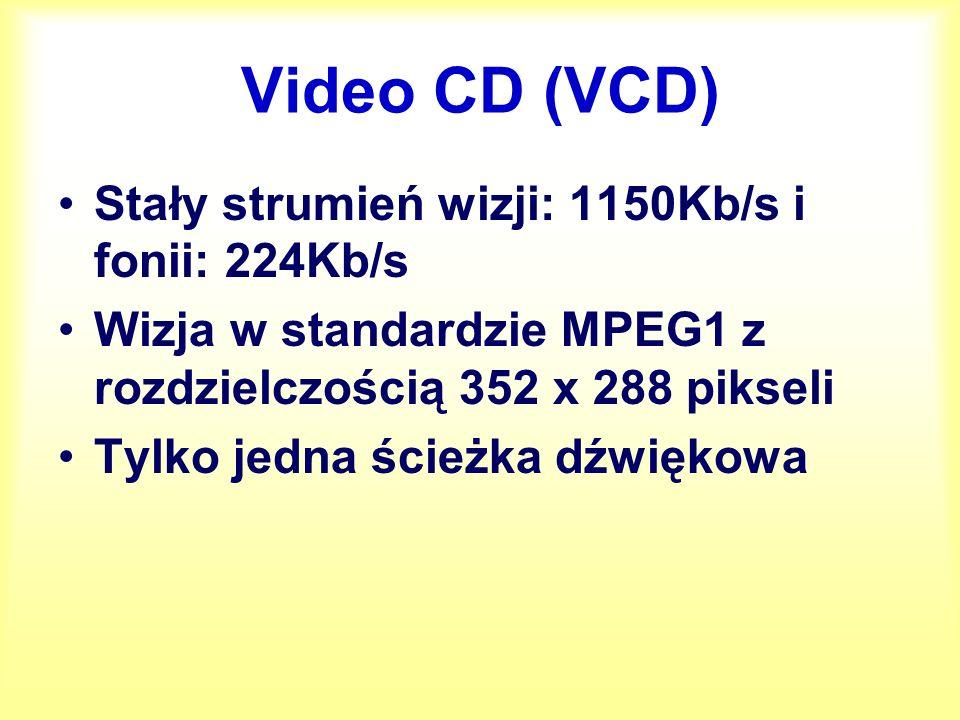 Video CD (VCD) Stały strumień wizji: 1150Kb/s i fonii: 224Kb/s