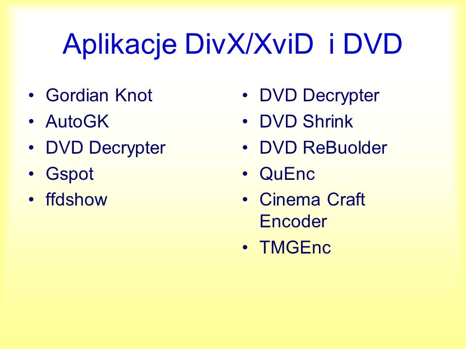 Aplikacje DivX/XviD i DVD