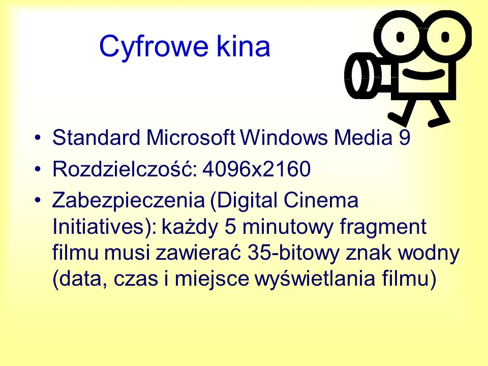 Cyfrowe kina Standard Microsoft Windows Media 9