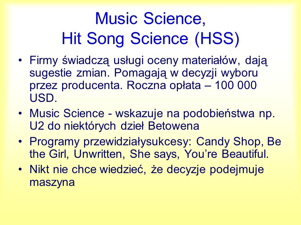 Music Science, Hit Song Science (HSS)
