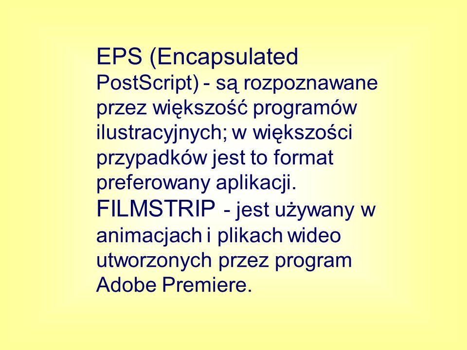 EPS (Encapsulated PostScript) - są rozpoznawane przez większość programów ilustracyjnych; w większości przypadków jest to format preferowany aplikacji.