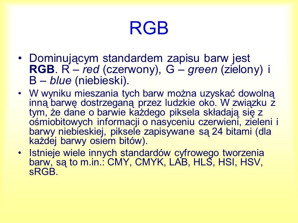 RGB Dominującym standardem zapisu barw jest RGB. R – red (czerwony), G – green (zielony) i B – blue (niebieski).