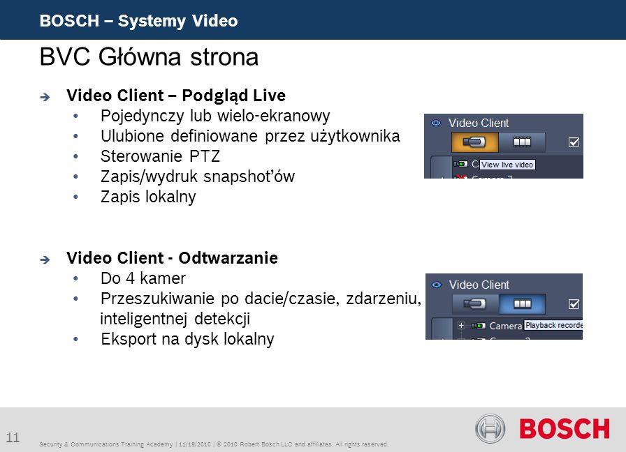 BVC Główna strona BOSCH – Systemy Video Video Client – Podgląd Live
