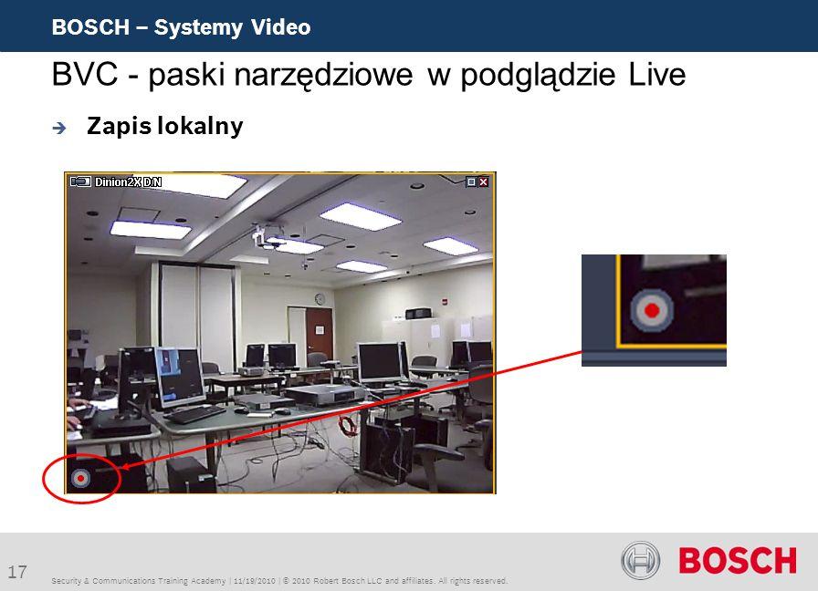 BVC - paski narzędziowe w podglądzie Live