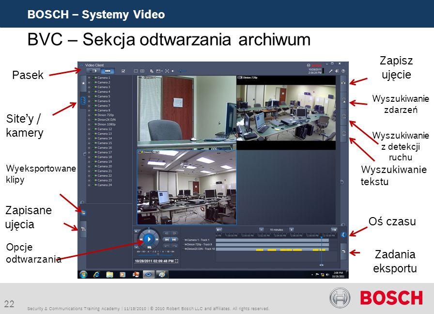 BVC – Sekcja odtwarzania archiwum