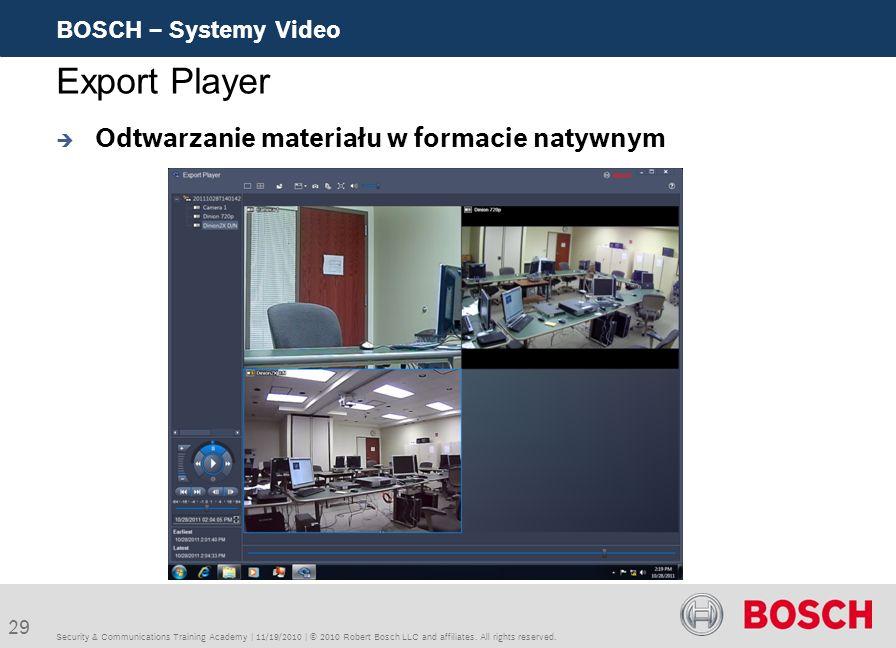 Export Player Odtwarzanie materiału w formacie natywnym