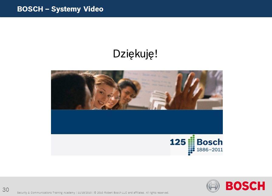 Dziękuję! BOSCH – Systemy Video