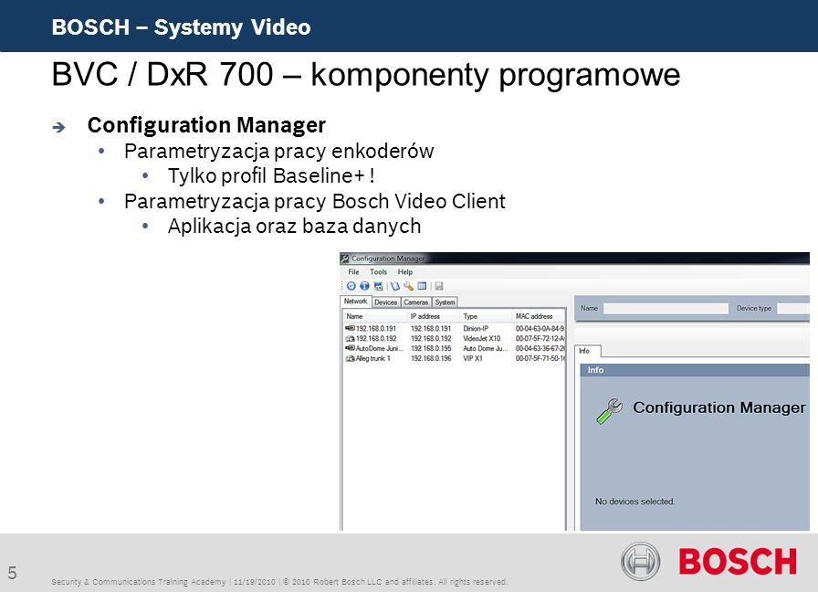 BVC / DxR 700 – komponenty programowe