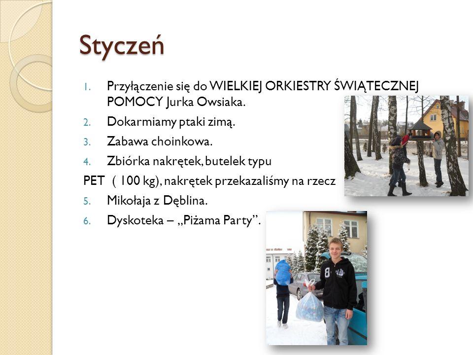 Styczeń Przyłączenie się do WIELKIEJ ORKIESTRY ŚWIĄTECZNEJ POMOCY Jurka Owsiaka. Dokarmiamy ptaki zimą.