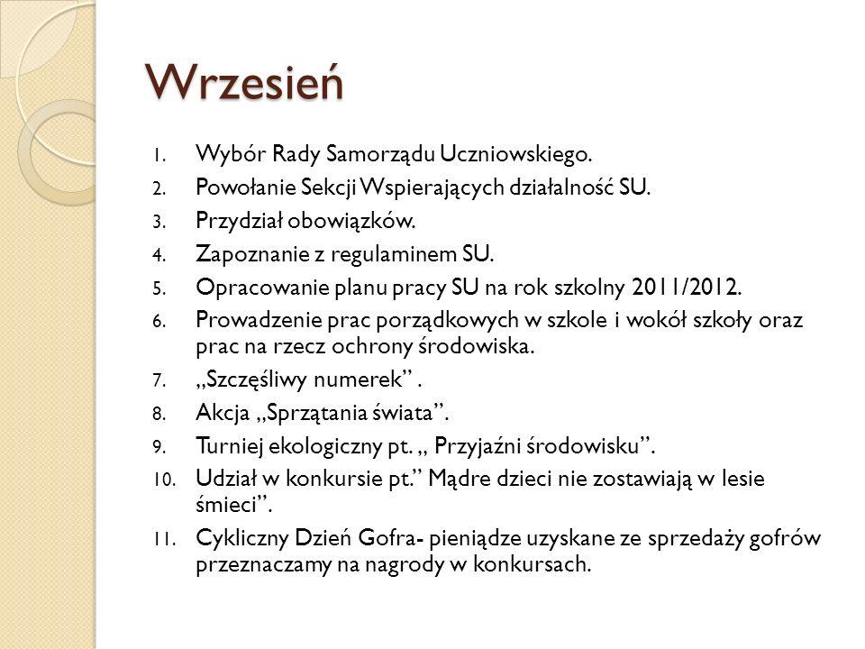 Wrzesień Wybór Rady Samorządu Uczniowskiego.