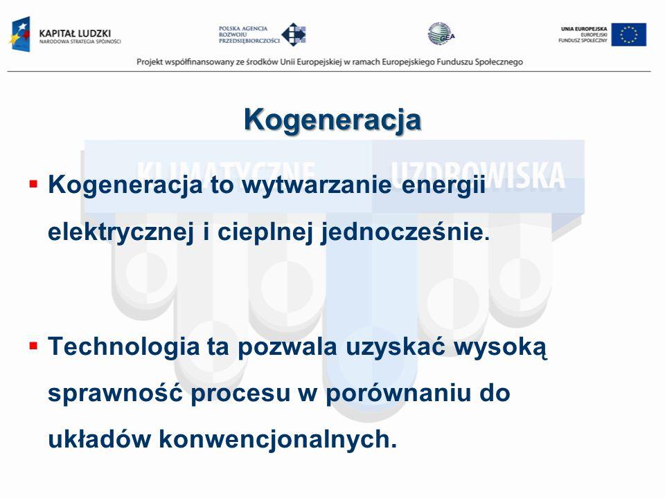 Kogeneracja Kogeneracja to wytwarzanie energii elektrycznej i cieplnej jednocześnie.
