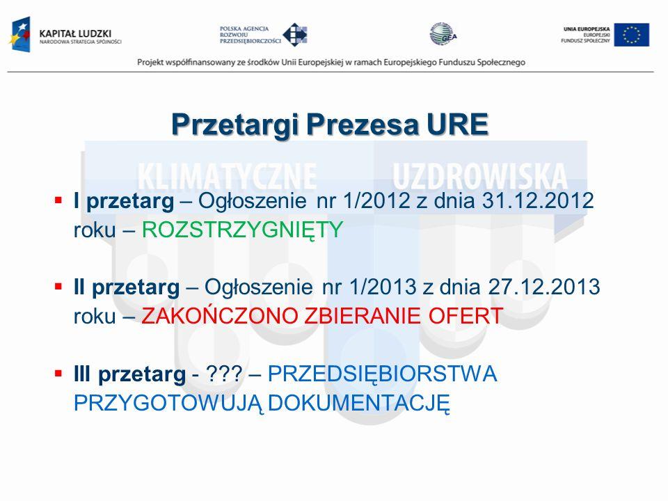 Przetargi Prezesa URE I przetarg – Ogłoszenie nr 1/2012 z dnia 31.12.2012 roku – ROZSTRZYGNIĘTY.