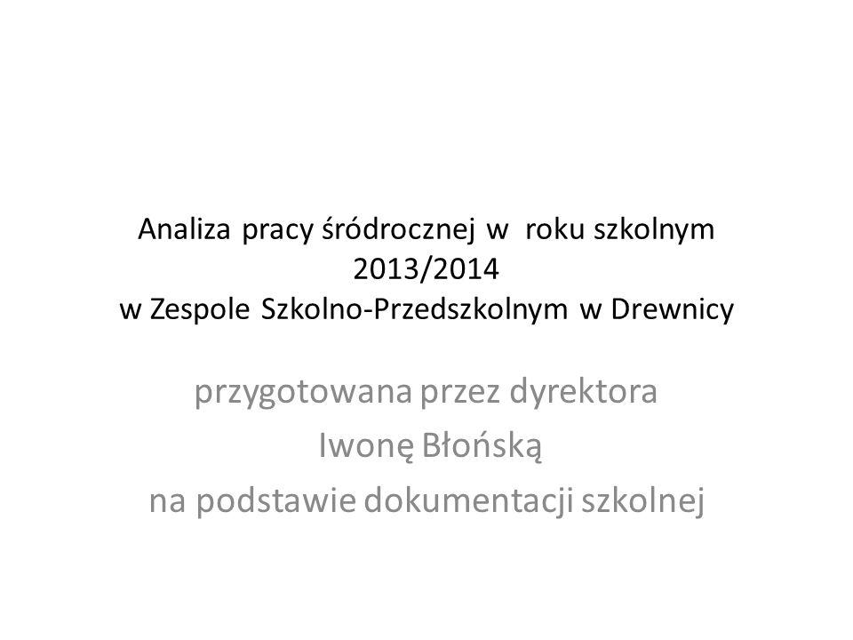 Analiza pracy śródrocznej w roku szkolnym 2013/2014 w Zespole Szkolno-Przedszkolnym w Drewnicy