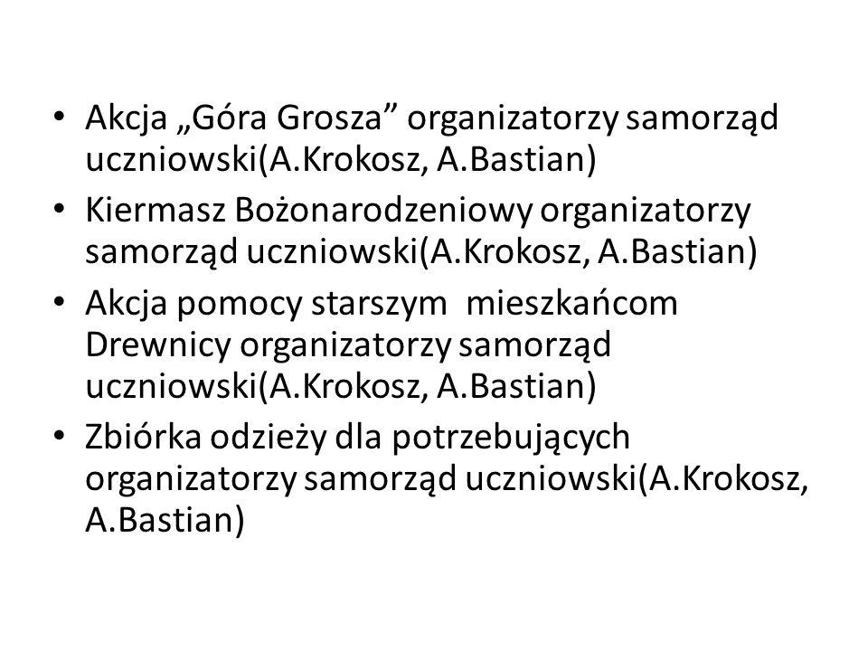 """Akcja """"Góra Grosza organizatorzy samorząd uczniowski(A. Krokosz, A"""