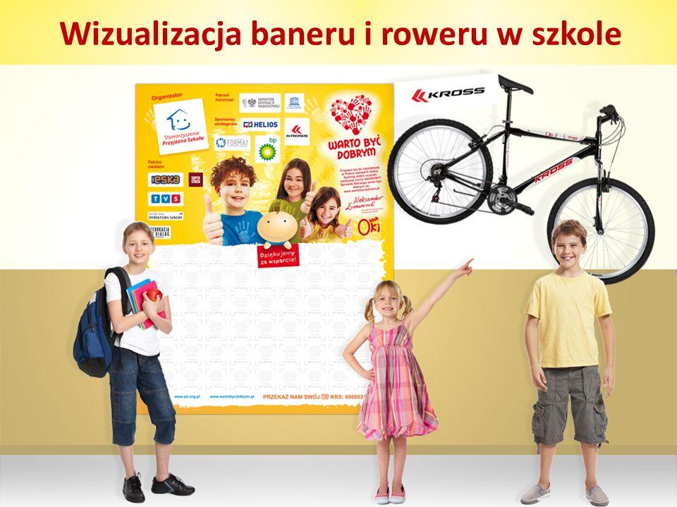 Wizualizacja baneru i roweru w szkole