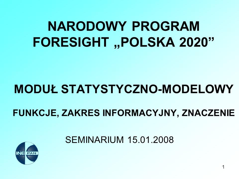 """NARODOWY PROGRAM FORESIGHT """"POLSKA 2020 MODUŁ STATYSTYCZNO-MODELOWY FUNKCJE, ZAKRES INFORMACYJNY, ZNACZENIE"""