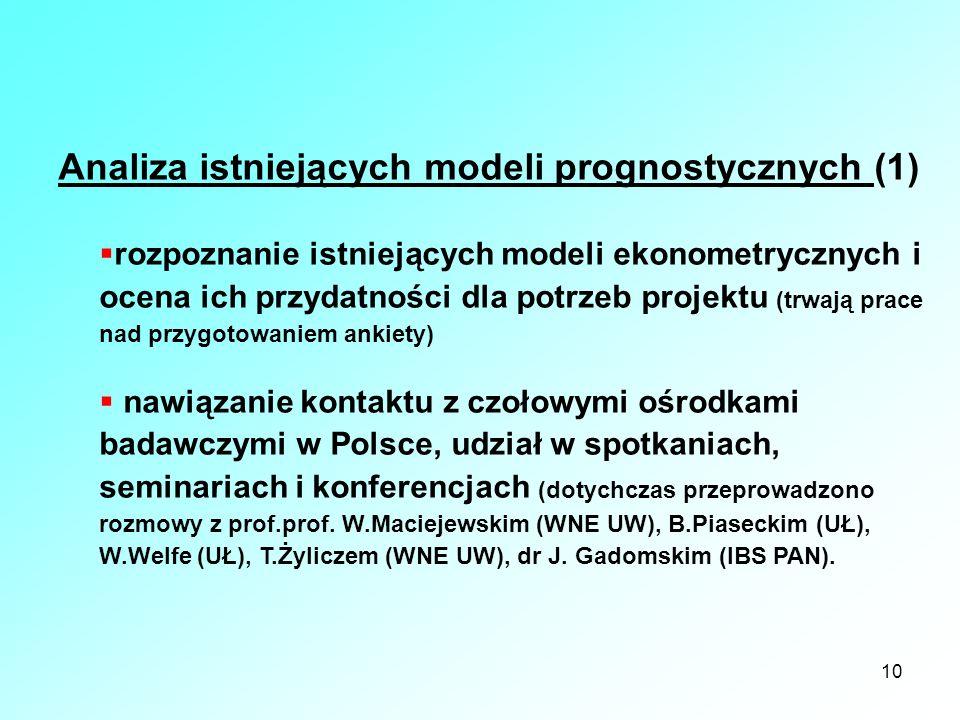Analiza istniejących modeli prognostycznych (1)