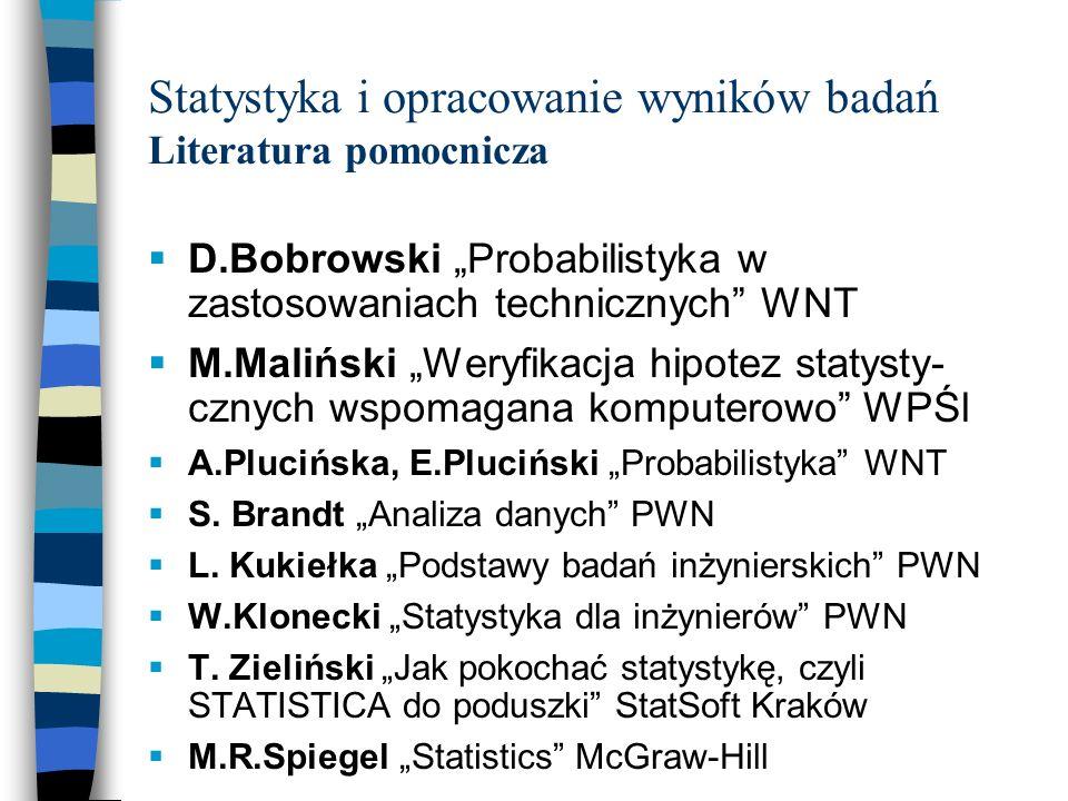 Statystyka i opracowanie wyników badań Literatura pomocnicza
